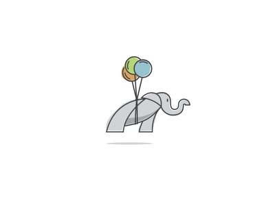 Elephant Logo pediatric therapy green orange blue balloons elephant icon mark logo
