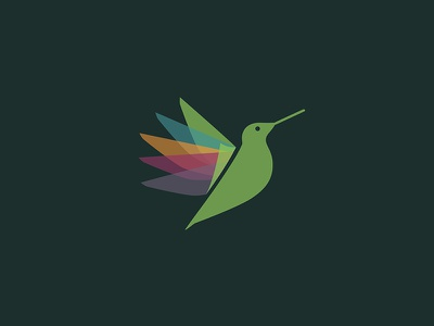 Play2Grow Logo branding mark logo icon orange blue green bird hummingbird