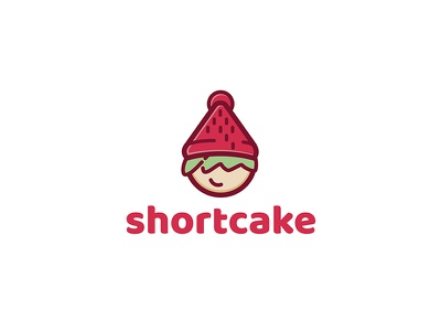 Shortcake Logo hat hipster children child green red minimal flat graphic illustration icon logo