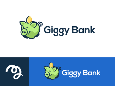 Giggy Bank Logo icon finance identity branding logo g coin money bank invoice pig gig