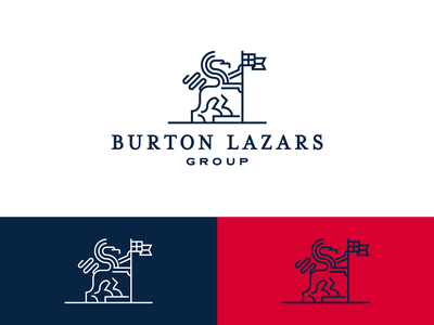 Burton Lazars Group Logo crypto cross vector graphic design flat serif line art finance blue illustration mark logo design red flag lion icon identity logo branding