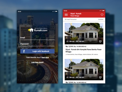 Rumah.com login and search results page mobile ux ui