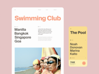 Swimming Club mobile app mobile ui product web landing page layout website app ux ui