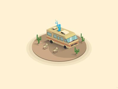 Science, bitch! isometric heisenberg truck desert breaking bad rv illustration illustrator vectors