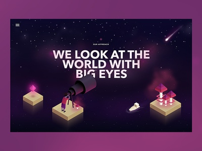 Unity Website meteor space sky stars mobile vectors illustration isometric responsive website header web