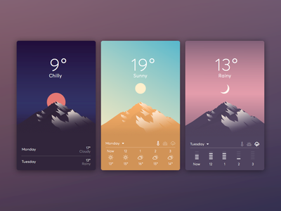 Lonely Mountain Weather Concept rain clouds minimal mountain ux ui illustration flat concept app weather