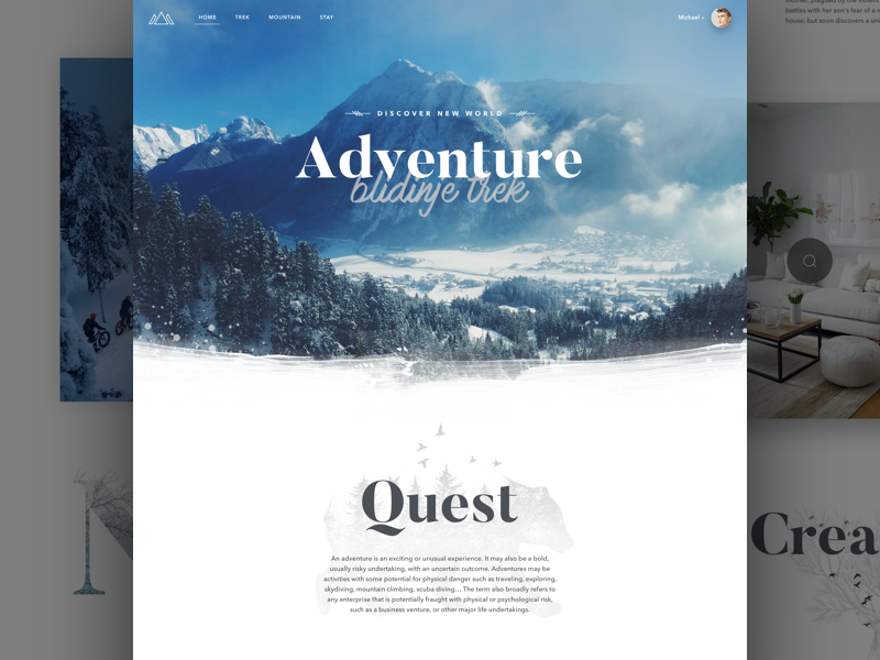 Misty Mountain Adventures layout card ux ui responsive product website landing page clean dashboard app web