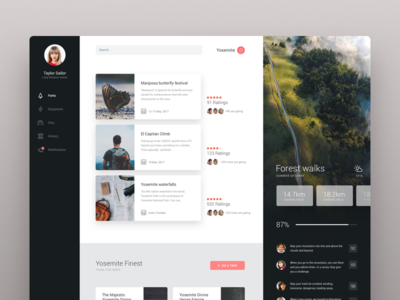 Yosemite layout card ux ui responsive product website running clean dashboard app dash