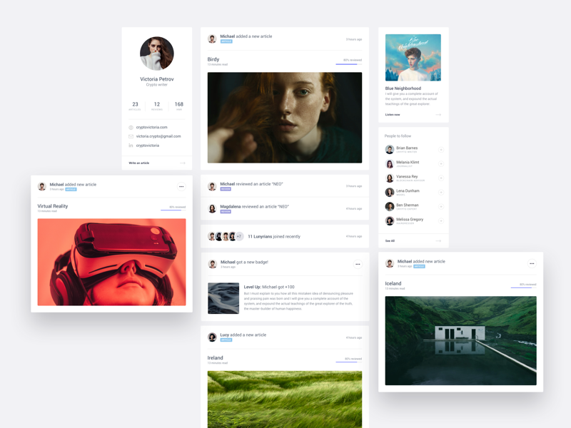 Lunyr Feed layout card ux ui responsive product website landing page clean dashboard app web