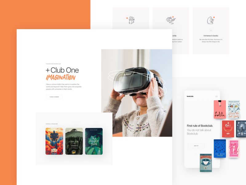 Bookclub clean design illustration minimal app landing page layout web website ux ui