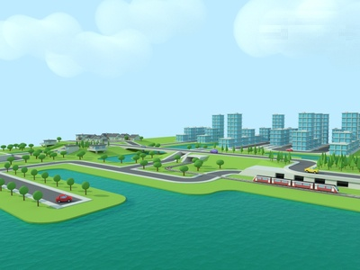 Landscape and city composition landscape 3d lowpoly city environment train water