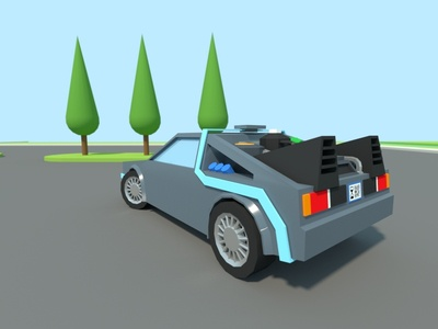 Delorean tribute delorean time-machine lowpoly landscape cars. movie tribute