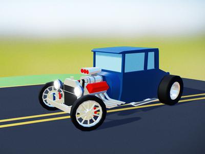 Lowpoly hotrod vintage clean design flat 3d modeling oldtimer road lowpoly racecar blender