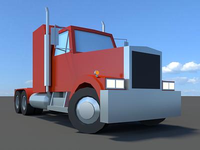lowpoly Truck  road 18wheels landscape 3d car blender racecar sketchfab lowpoly