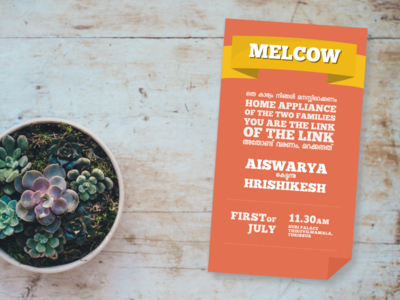 Melcow Invitation Card for Malayalee Wedding