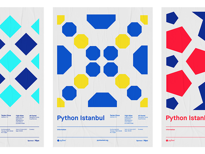 Python Istanbul 🐍  Poster Series geometric software istanbul python poster