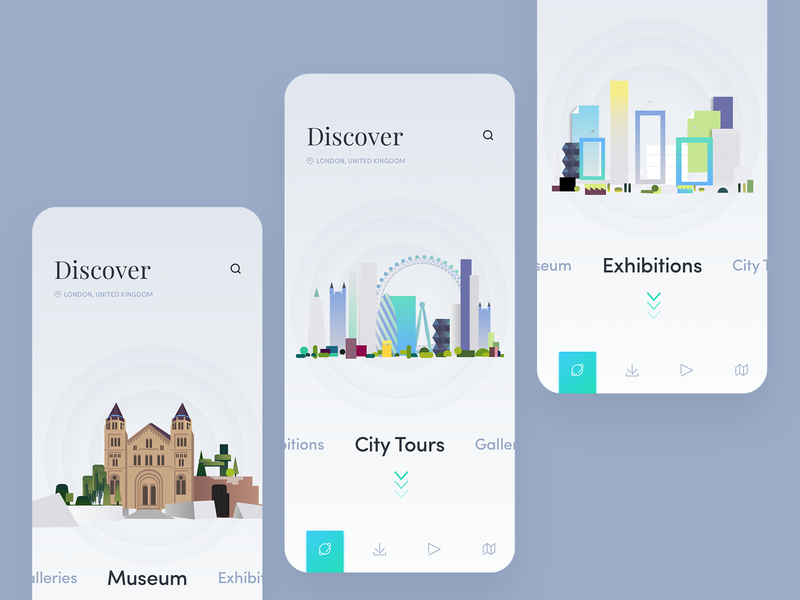 Travel Guide App citytours exhibitions museum icon concept illustration ui travel app travelguide