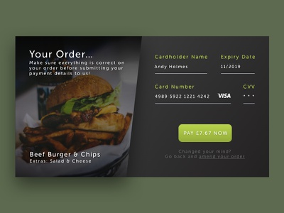 Daily UI #002 - Credit Card Checkout food ui sketch daily ui dailyui checkout card credit