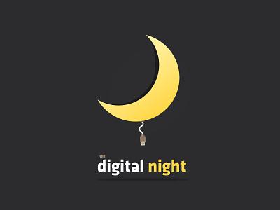 Digital Night digital night identity logo brand moon wire usb illustration