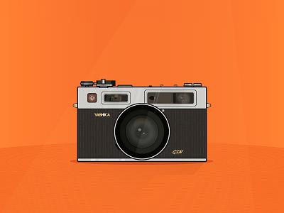 Yashica Camera yashica electro35 illustration cartoon orange gsn camera lens