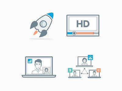 4G Illustrations 4g illustration outline icons rocket desktop skype call buffering