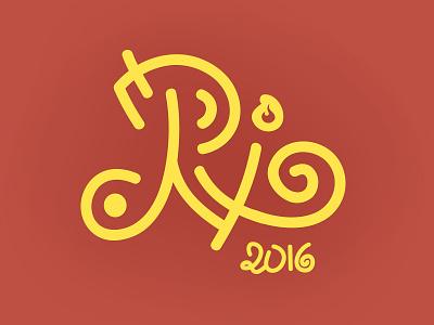 Rio 2016 curves caligraphy yellow red logo 2016 olympics rio