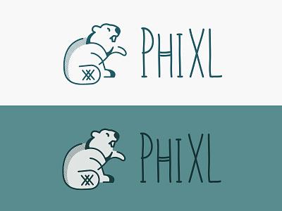 PhiXL final logo phixl castor simple stripes blue line logo beaver