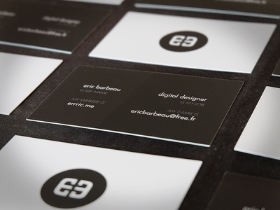 New Business Cards | Eric BARBEAU white black branding identity logo stationery business cards business card