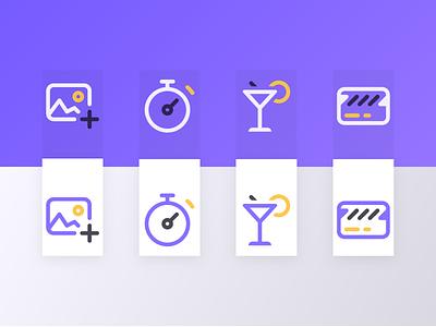 Icon set (In progress) stripes icon set icon design yellow icons simple purple line set icon