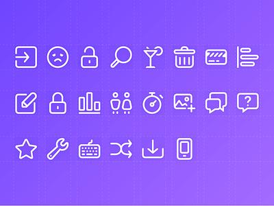 Icon Set - Preview artwork gradient stripe purple icons stroke line set icon icon set