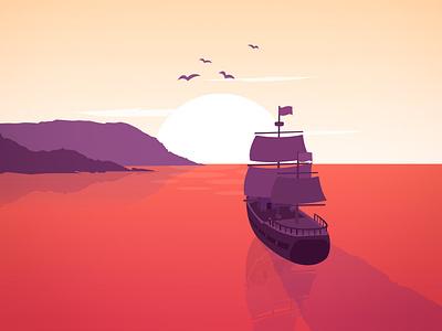 Beginning Of A Beautiful Journey pirate ship pirate landscape illustration landscape water ocean ship design vector vector art poster minimalistic illustration