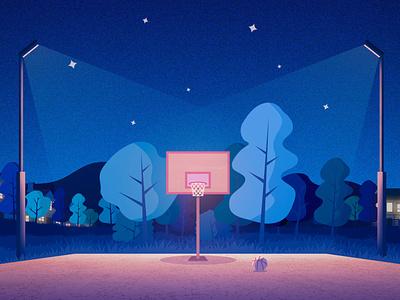 Hangout Spot cozy evening night summer basketball court basketball minimalist landscape illustration landscape design vector art poster minimalistic illustration