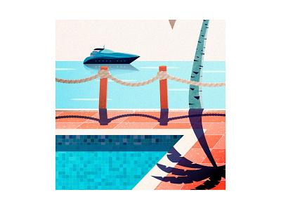 Poolside boat palm tree oldschool retro pool party pool flatdesign ocean landscape illustration cozy poster minimalist landscape design vector art minimalistic illustration