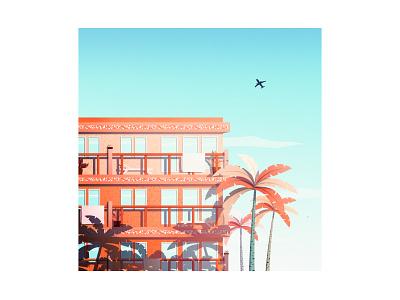 Beachside Resort 70s motel palmtree palm tree vintage retro hotel landscape illustration cozy poster minimalist landscape design vector art minimalistic illustration