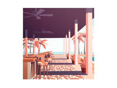 Poolside Bar palmtree beach vacation poolside bar ocean landscape illustration cozy poster minimalist landscape design vector art minimalistic illustration