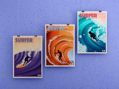 The Surfer Magazine Collection series poster art flatdesign oldschool retro surfing landscape design poster vector art minimalistic illustration