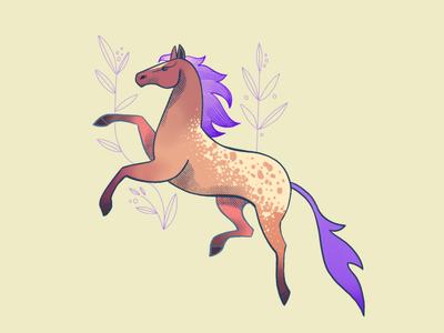 Procreate, here we go I. 2d digital painting illustration girly character horse freehand drawing procreate