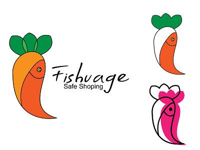 Fishvage safe shopping carrot and fish| supper shop base logo vector designe logodesigne brandidentity kitchen salmon eating seafood meal carrot fish supermarket store shopping product restaurant vegetable branding salad creativelogo icon