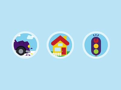 Flat icon Illustrations flat car house traffic light accident broken