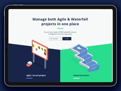 ⚡️ GetScope website - concept waterfall agile project management concept layout flat ui app illustration typography