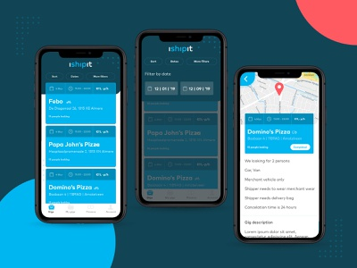 🛵 iShipit - find a gig simple design branding ux type flat ui layout delivery app delivery startup app