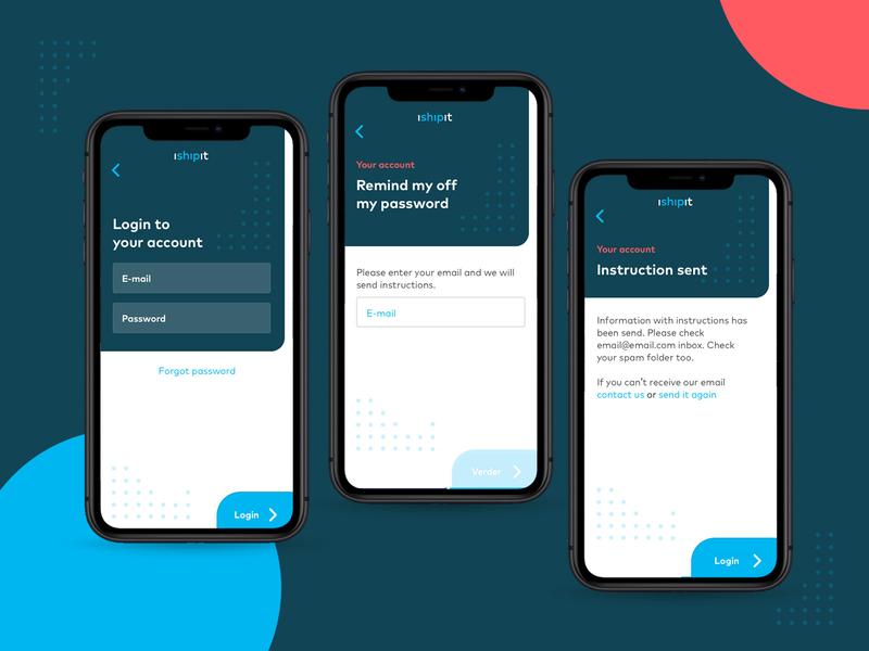 💻 iShipit - forgot password app clean design ux branding ui layout username startup login screen login forgotten forgot password