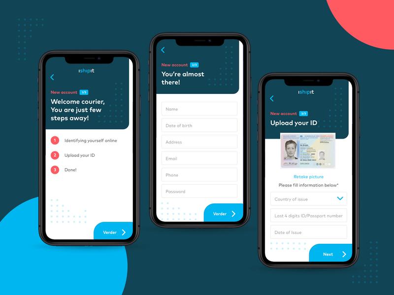 iShipit - registration branding ux typography type app food app delivery app startup flat ui flow passport register form register