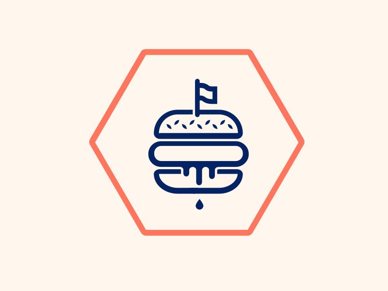 Burger logo logo icon lines burgers burger juicy dripping