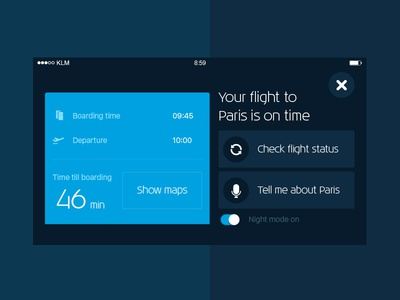 Nightmode - Car assist to the airport travel airplane airport dashboard app mobile ios carplay car mode nightmode