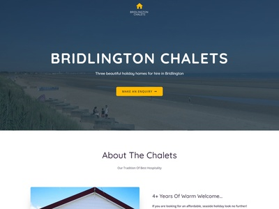 One Page Website - Bridlington Chalets logo hero image one page design one page site one pager one page website one page web design web design