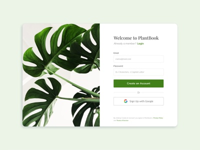 Sign Up Page -Daily UI #001 plant daily ui ui design