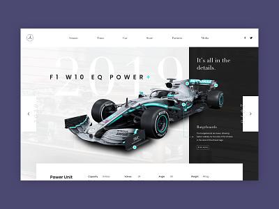 Mercedes F1 Team formula 1 car 2019 ui ux ui user interface design f1 car car user interface uxui uidesign amg mercedes f1 formula1 webdesign