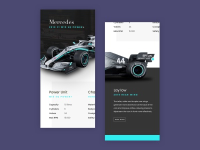 Mercedes F1 car page amg interface user interface design mobile ui mobile app mobile user interface race racecar cars mercedes formula1 f1 app ui ux ui
