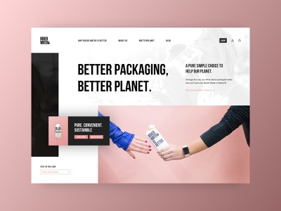 Boxed Water Redesign box nature bottle water bottle interface web planet landing page redesign water boxed water